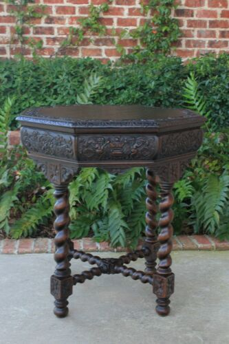 Antique French BARLEY TWIST Table Entry Center Parlor Octagon Library Oak Table