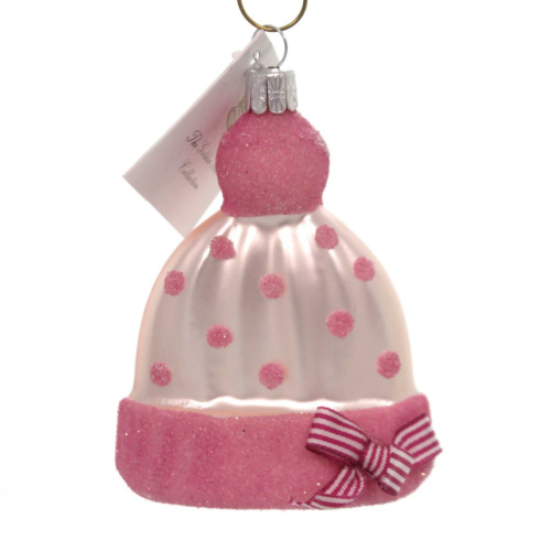 CHRISTMAS ORNAMENT GLASS FROM THE CZECH REPUBLIC....BABY GIRL's CAP PINK W/BOW