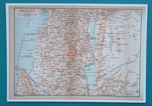 """1898 MAP 6 x 9"""" (15 x 22 cm) - NORTHERN ISRAEL Galilea Middle East"""