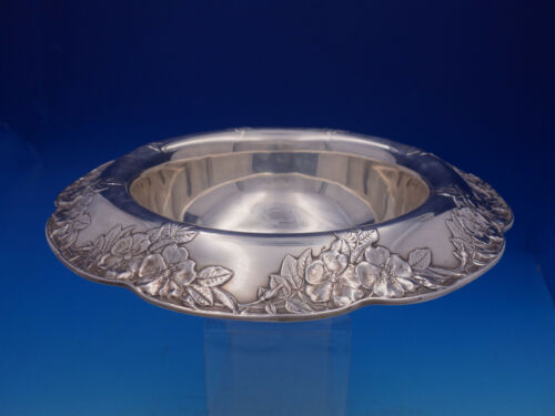 Lap Over Edge Acid Etched By Tiffany Sterling Silver Floral Fruit Bowl (#4602)