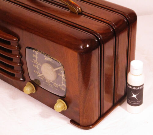 QAR-GLAYZE Wood & Bakelite Polish - High Luster Shine For Your Antique Radio 2oz