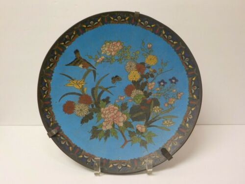 """19th C. Chinese Cloisonne on Bronze 12"""" Charger, Meiji Period (#3)"""