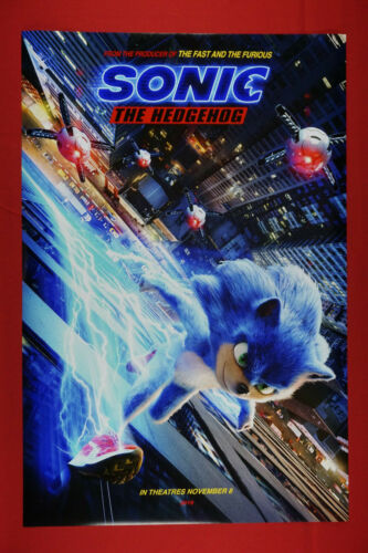 SEGA Sonic the Hedgehog Fast & Furious 2020 Movie Art Poster 24X36 NEW    SON2