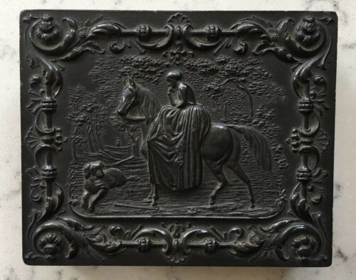 ANTIQUE AMBROTYPE PHOTOGRAPH IN GUTTA PERCHA UNION CASE WOMAN ON HORSE W/ DOG