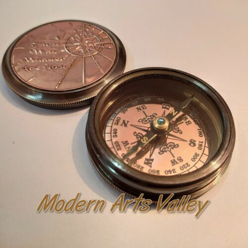 Antique Brass Compass Nautical Collectible Gift Item