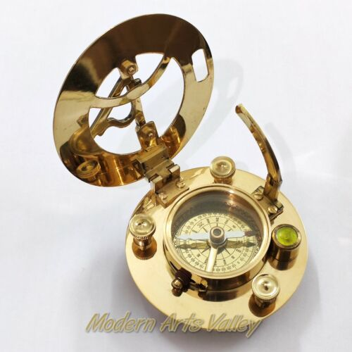 Brass Sundial Compass Round  Nautical Collectible Gift Item