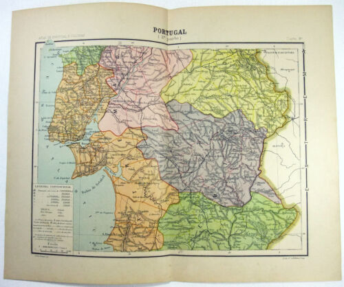 Original 1906 Map of South Central Portugal Including the Greater Lisbon Area