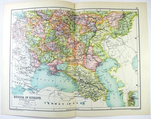 Original 1909 Map of Russia in Europe - Southern Section - by John Bartholomew