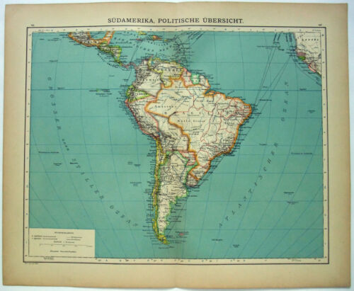 Original 1900 Map of South America by Carl Wolf. Antique