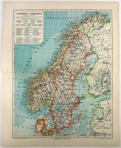 Original 1908 Map of Sweden & Norway by Meyers. Antique