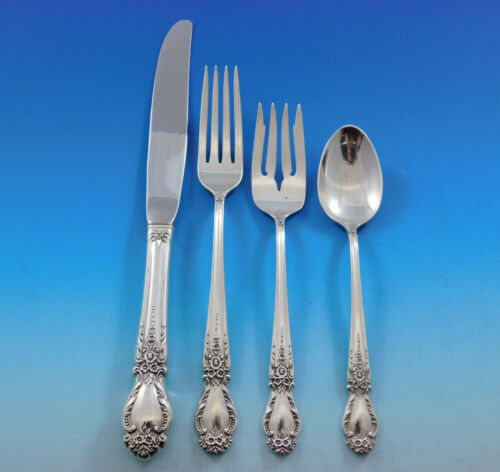 Brocade by International Sterling Silver Flatware Set for 12 Service 48 pcs