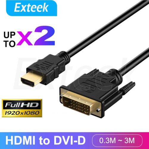 HDMI to DVI-D 24+1 Pin Male Cable AV Full HD PC LCD PS3 XBOX HDTV 0.3M ~ 3M