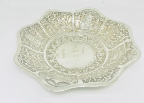 Rare Chinese or Asian solid silver bowl /Tray  ,hallmarked 900