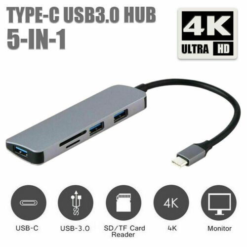 5IN1 Type-C TO USB Hub Adapter Laptop Convenient  4K HDMI NEW Fashion