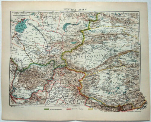 Original 1908 Map of Central Asia by Meyers. Antique
