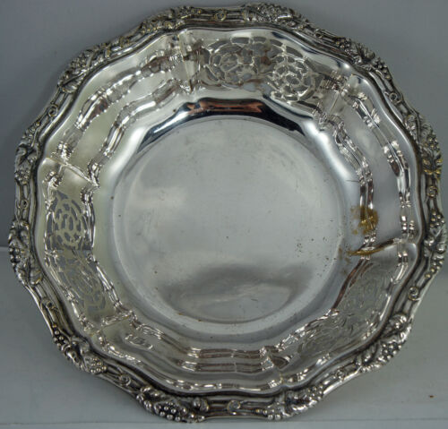 VINTAGE SILVER PLATE BOWL/DISH PIERCED,EMBOSSED GRAPES/LEAVES ORNATE