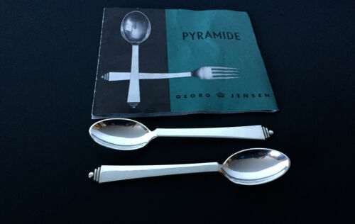 TWO Vintage GEORG JENSEN PYRAMID Teaspoons Sterling Silver 4.69 INCHES Number 33