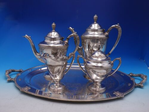 Rose Point by Wallace Silverplate Tea Set 5-Piece (#4732)