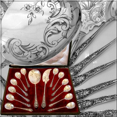 Bonnescoeur French All Sterling Silver Ice Cream Set 14 pc with box Rococo