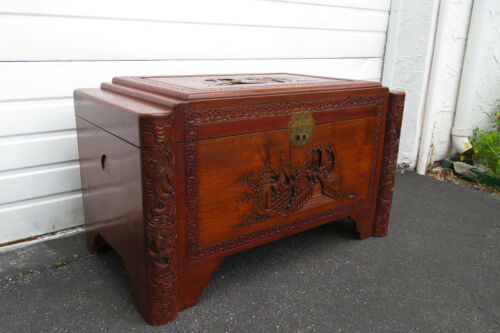 Heavy Carved Oriental Deco Chest Trunk Bench Coffee Table 1247