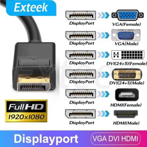 Displayport DP Male to VGA DVI HDMI Female Display Port Converter Adapter Cable