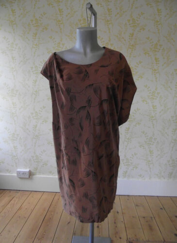 COUNTRY ROAD brown & black patterned silk asymmetric tunic dress UK 12