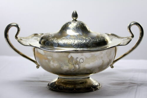 Antique Sterling silver covered compote Shreve & Co San Francisco 2 handle