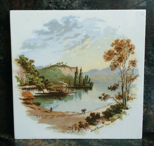 ANTIQUE VIEW OF LOCH KATRINE 6in X 6in TILE - VERY GOOD CONDITION