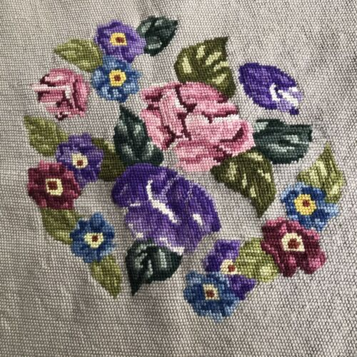Vintage Tapestry Piece for Upholstery Pink Rose Purple Rose Blue