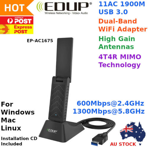 EDUP AC 1900 Mbps High Gain WiFi Wireless USB 3.0 Adapter Dual Band AU STOCK
