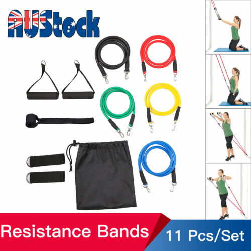 11PCS Resistance Exercise Bands Yoga Pilates Strap Home Gym Tube Fitness Workout