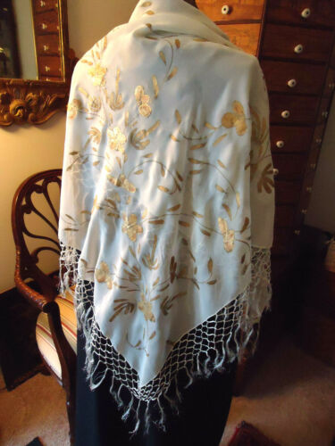 1920S SILK CHIFFON -HAND PAINTED SHAWL W/LONG FRINGE, OFF WHITE, BRONZE  ART DEC