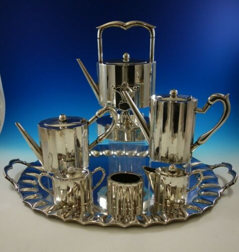 Reyes Mexican Mexico Sterling Silver Tea Set 7pc Mid-Century Modern (#4736)