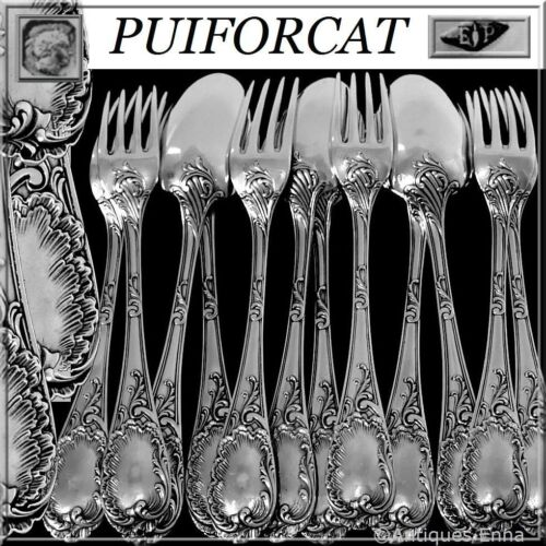 Puiforcat Fabulous French Sterling Silver Dinner Flatware Set 12 pc Rococo