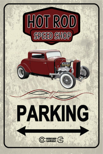 Parking Sign Metal  - HOT ROD SPEED SHOP - 1932 FORD COUPE - BRONZE  RUSTIC LOOK