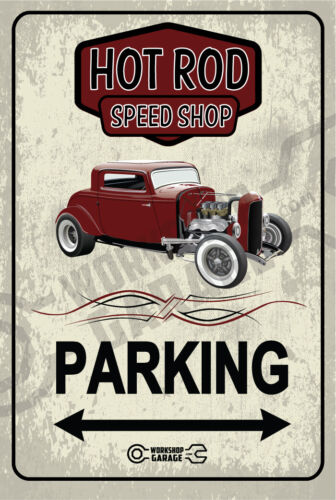 Parking Sign Metal  - HOT ROD SPEED SHOP 1932 FORD COUPE - COPPER BRONZE RUSTIC