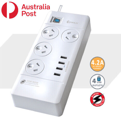 4 Outlet Surge Protected USB Power Board Powerboard