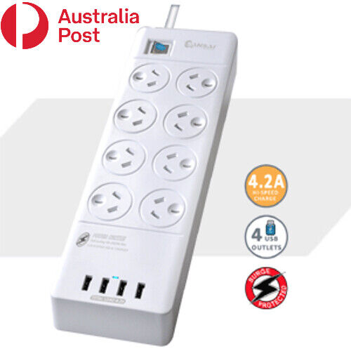 8 Outlet Surge Protected USB Power Board Powerboard
