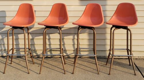VINTAGE MID CENTURY MODERN EAMES STYLE SWIVEL STOOL CHAIRS ORANGE CHICAGO AREA