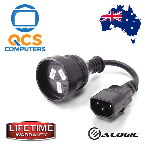 UPS Adapter Power Cable IEC C14 to Aus 3 Pin - MtoF / Lifetime Warranty / 0.15m