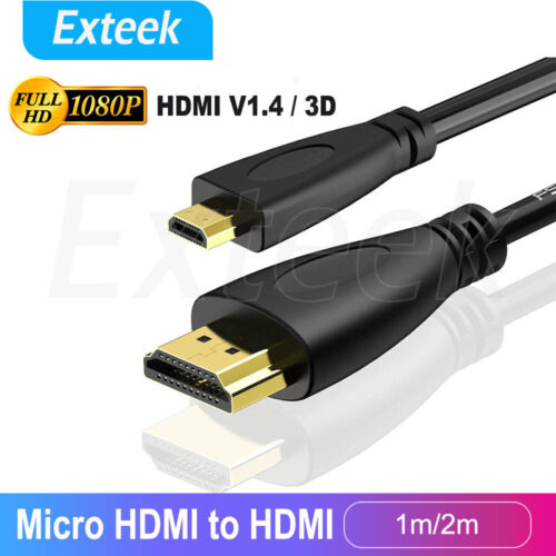 Micro HDMI Type D to HDMI Male Cable 1.4V Gold Plated HD 1080P Digital HDTV Lead