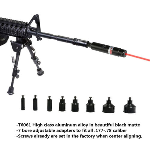 Red Laser Bore Sighter Kit .177 to .50 Caliber Li-ion Battery Boresighter USA