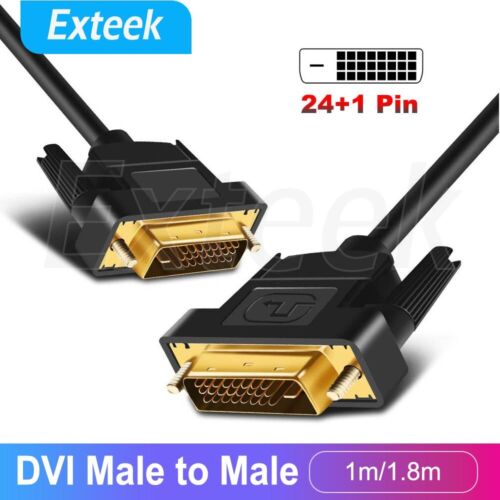 DVI to DVI Cable Male DVI-D for LCD Monitor Computer PC Projector DVD