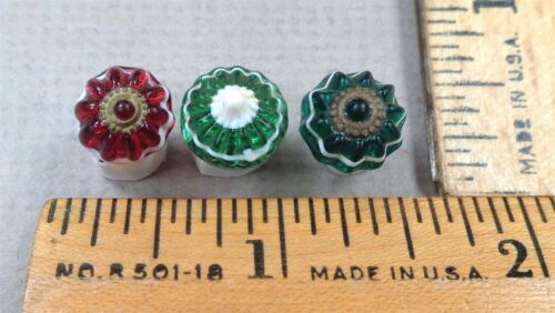 Lot of 3 Banded Glass Antique BUTTONS, Green + Cranberry w/ White, Charm String