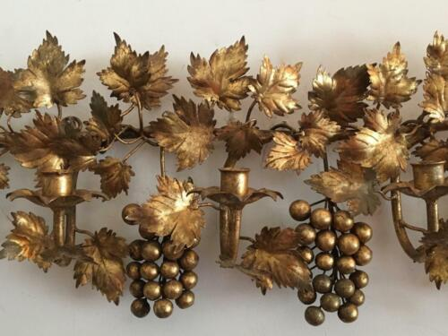 ANTIQUE VTG ITALIAN GOLD GILT METAL TOLE GRAPES LEAVES SCONCE WALL CANDLE HOLDER