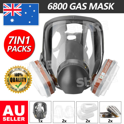 7 in1 Gas Mask Combination With Filter Box Full Face Facepiece Respirator