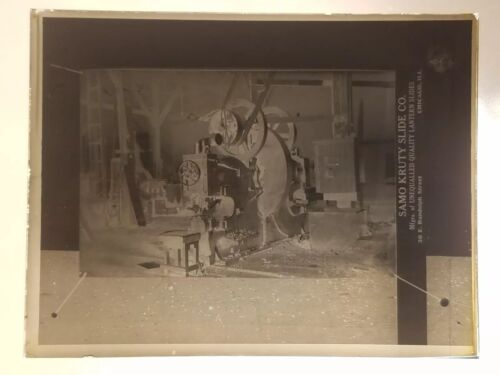 Vtg GLASS NEGATIVE SLIDE Picture of Picture of an Unknown Old Shop Machine