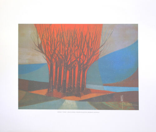 """MARLEZ - FOREST Vintage Lithograph 18"""" x 21"""" Printed in 1970's Green Art"""