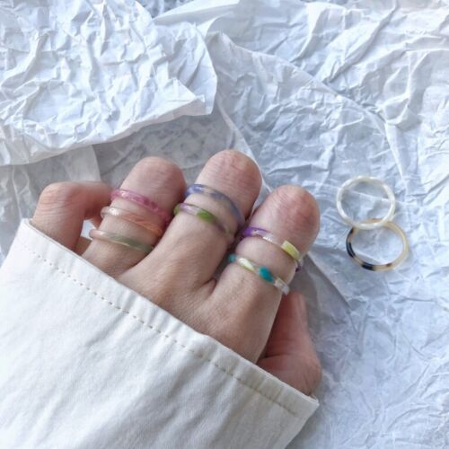Colorful Transparent Resin Acrylic Knuckle Ring Women Party Gift Fashion Jewelry