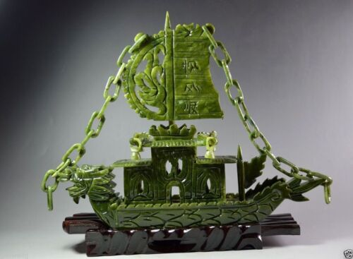 Chinese Hand Carved 100% Natural Jade Dragon Incense statue Dragon Boat